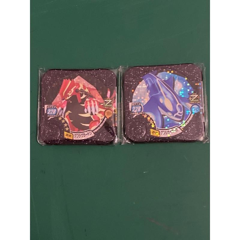 Pokemon Tretta (Last Set -l)-set purchase of both Z4 Groudon/Z4 Kyogre -calls down rayquaza (mint n unused)