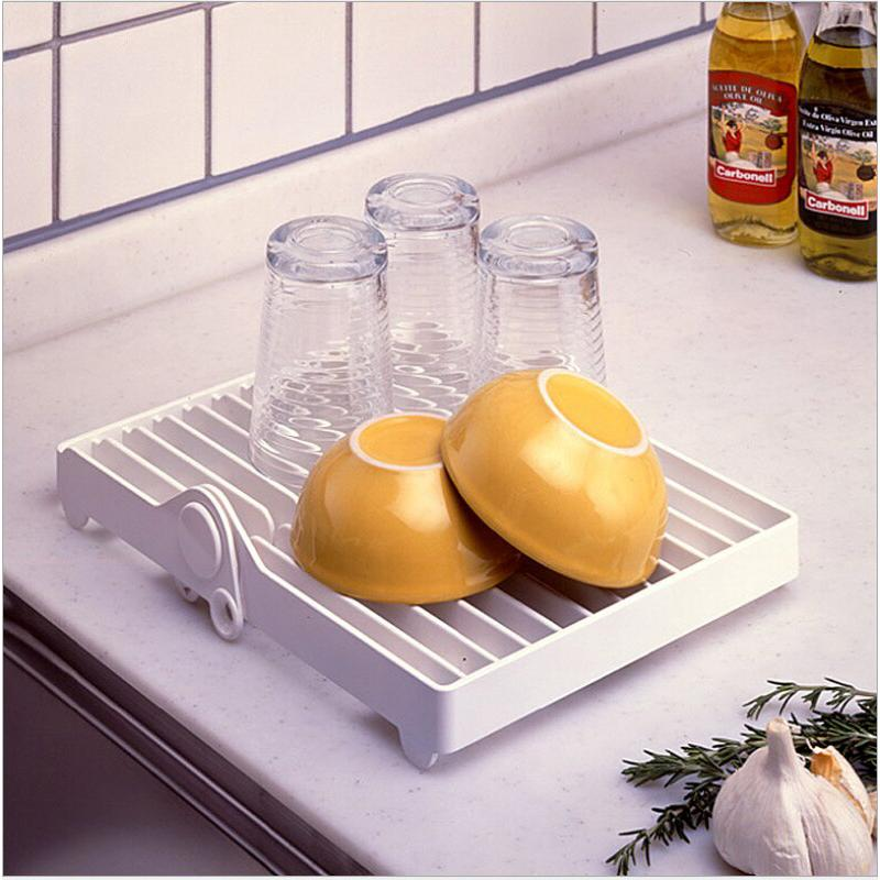 Kitchen Foldable Dish Plate Drying Rack Organizer Drainer ...