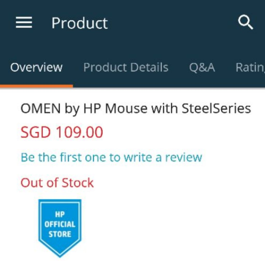 Gaming Mouse HP Omen 600 | Shopee Singapore