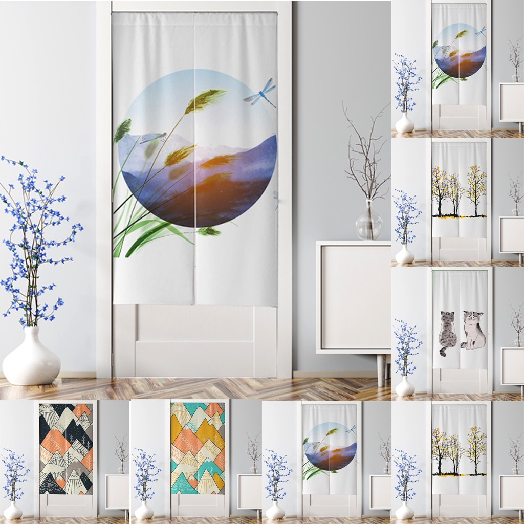 Simple Painting Curtains Blinds Door Curtain Home Bedroom ...