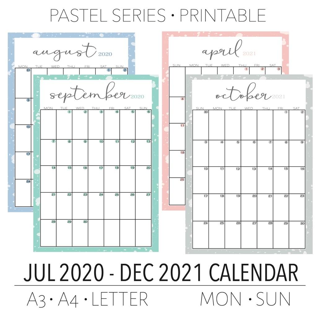 2020/2021 Monthly Calendar, Monthly Planner, Digital Files ...