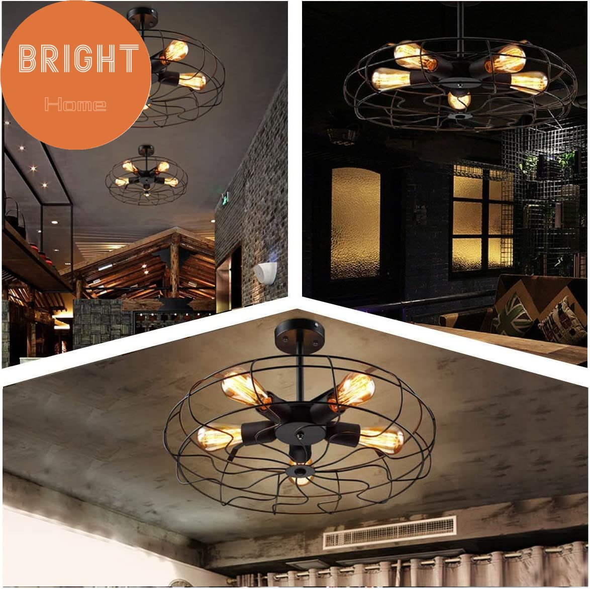 Bright Home Retro Industrial Fan Style Metal Cage Ceiling Light 54cm 5 Lights Semi Flush Mount Rustic Pendant Light Lamp Hanging Light Fixture Shopee Singapore