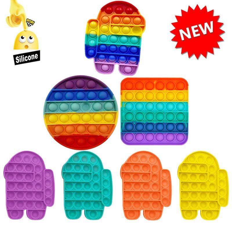 New Among Us Pop It Round Fidget Toy Push bubble stress relief kids pop it tiktok