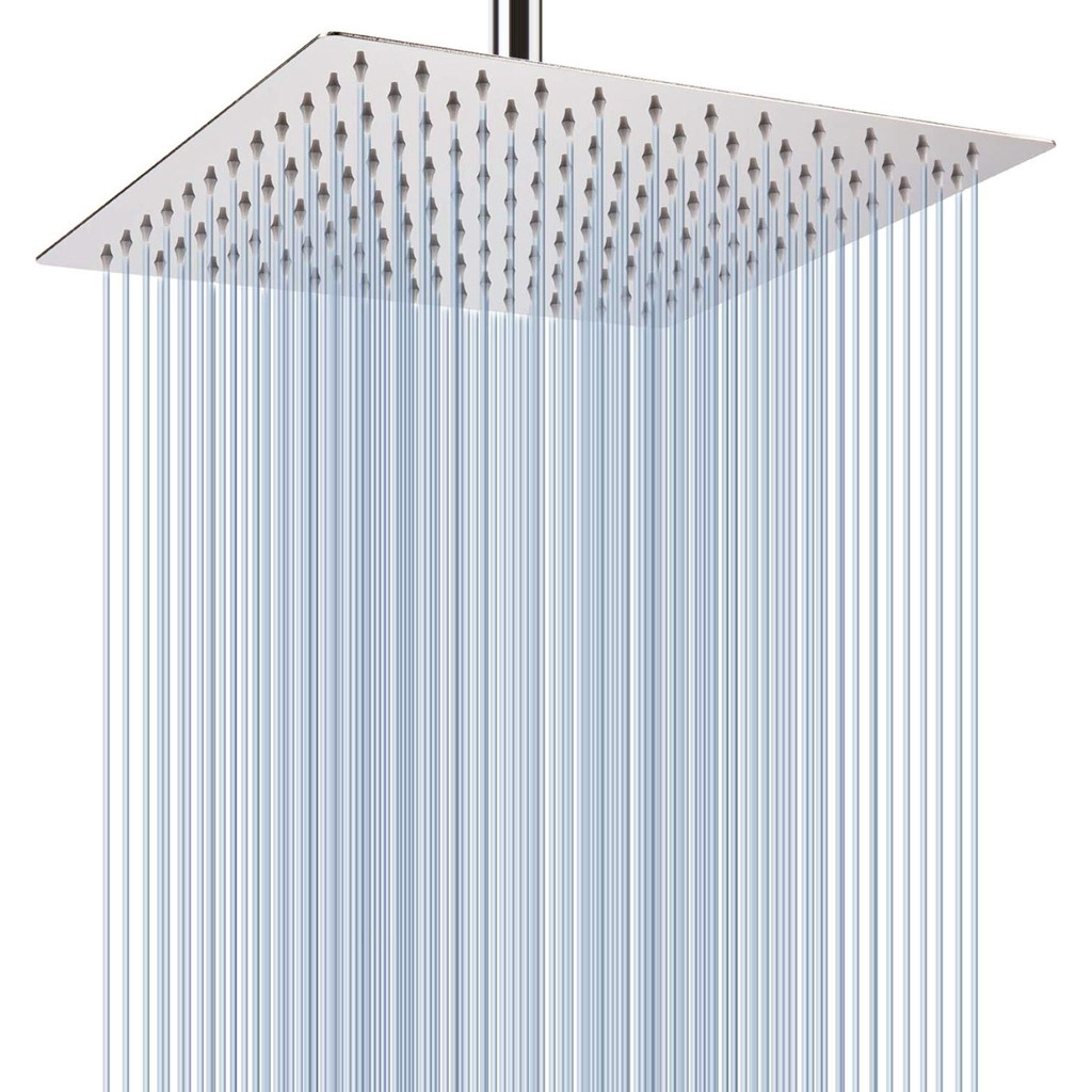 Large 12 Inches Square Rain Showerhead 100 Sus 304 Stainless Steel High Pressure Shower Head
