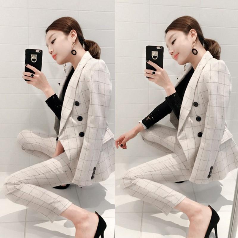 2ef2350d0304 Gingham blazer with shirt/pants set | Shopee Singapore
