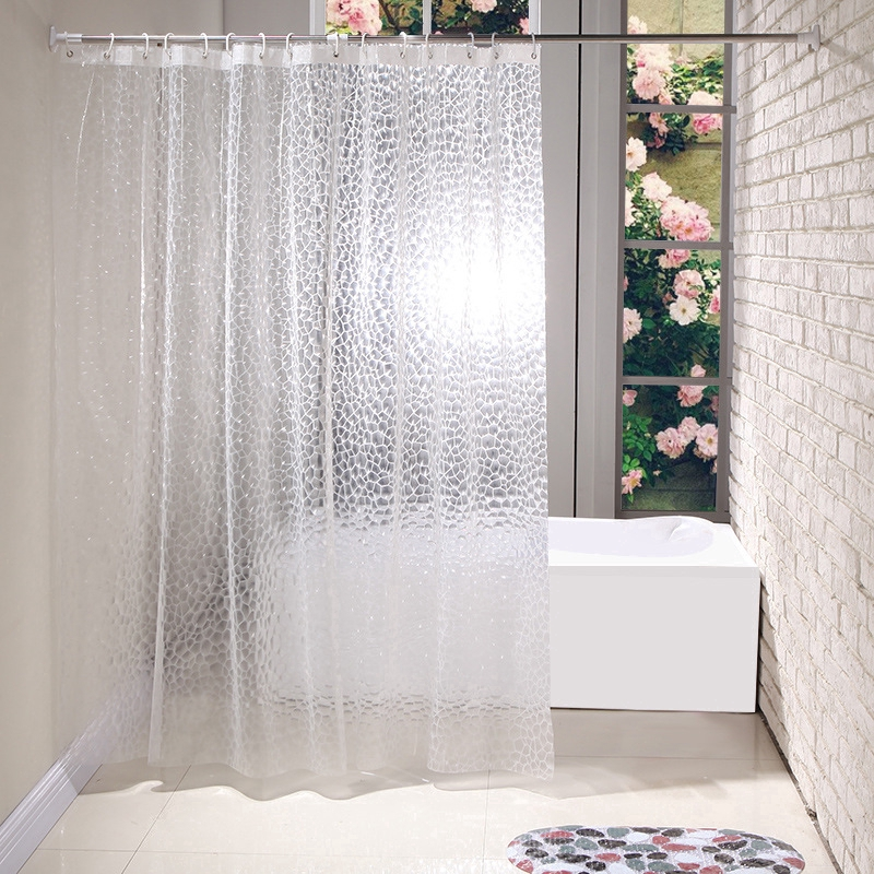 1.8*1.8m Clear 3D Water Cube Thickened Bathroom Bath Shower Curtain Waterproof
