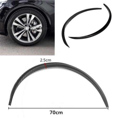 Car Fender Flare Wheel Eyebrow Protector Sticker Black Carbon Fiber Rubber Strip