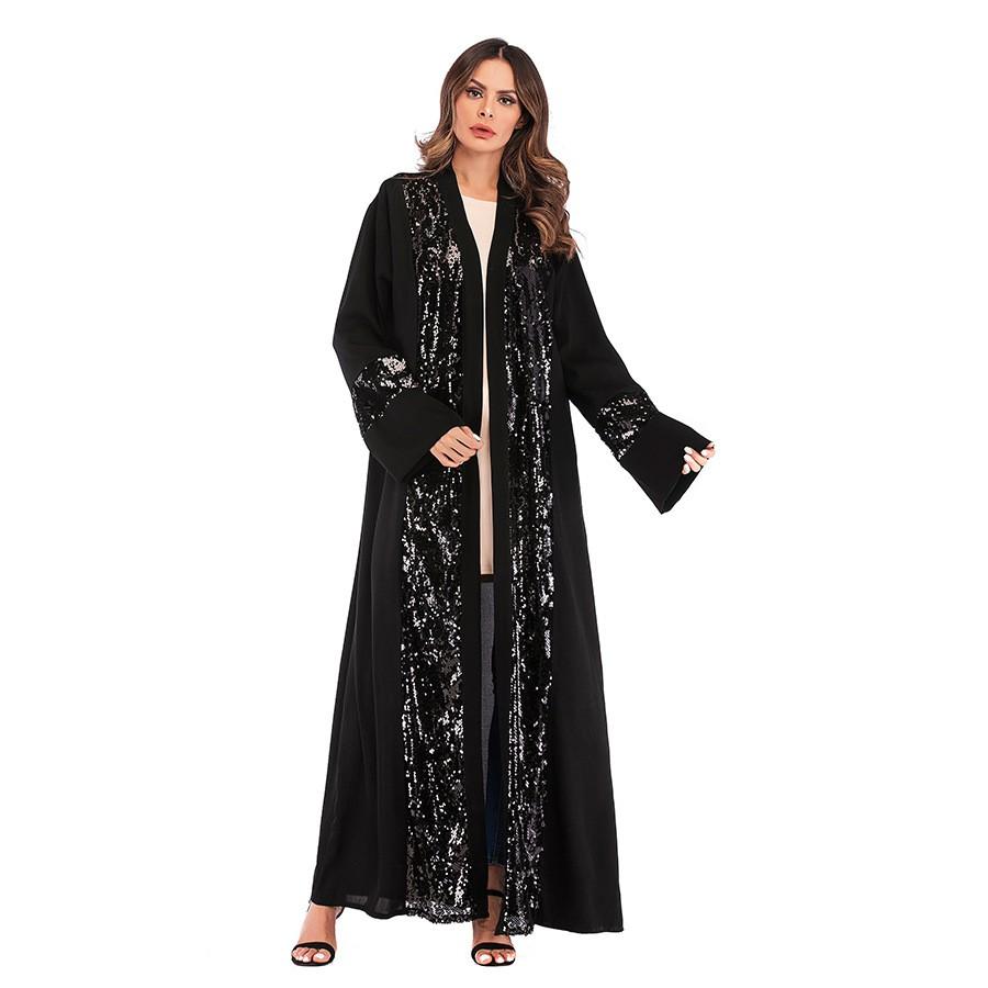 Black Abaya Dubai Kaftan Islam Sequined Cardigan Muslim Hijab Dress Caftan  Oman Qatar Abayas For
