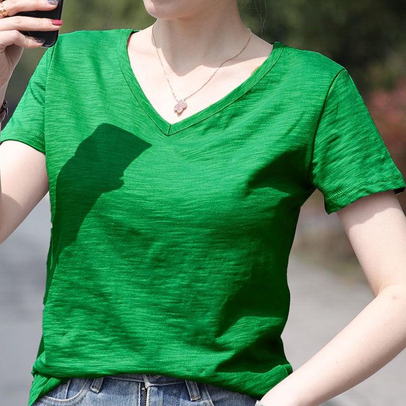 Rrive Women T-Shirts V Neck Pure Color Long Sleeve Loose Top Blouse T-Shirt