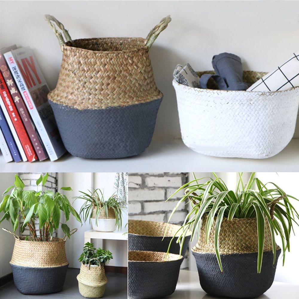 Bag Seagrass Household Flowerpot Flower Belly Basket Folding Storage Holder