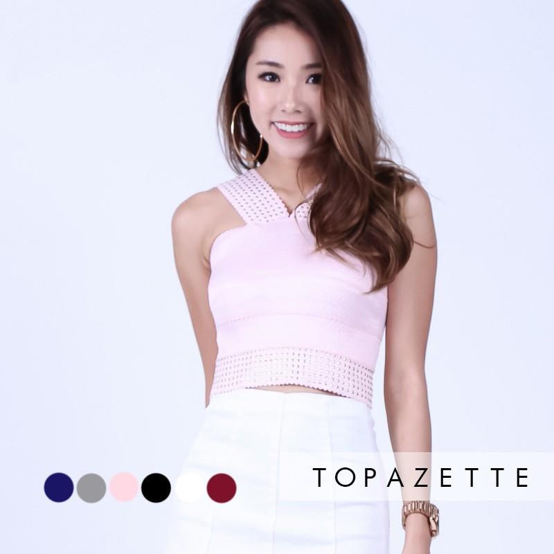 42f9d388d499c6 Topazette - Studded Bandage Bodycon Top | Shopee Singapore