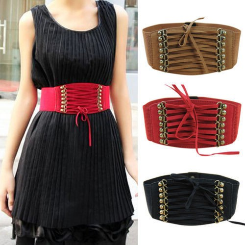 Womens Strap Buckle Cinch Corset Elastic Tie Wrap Around Waistband Waist Belts