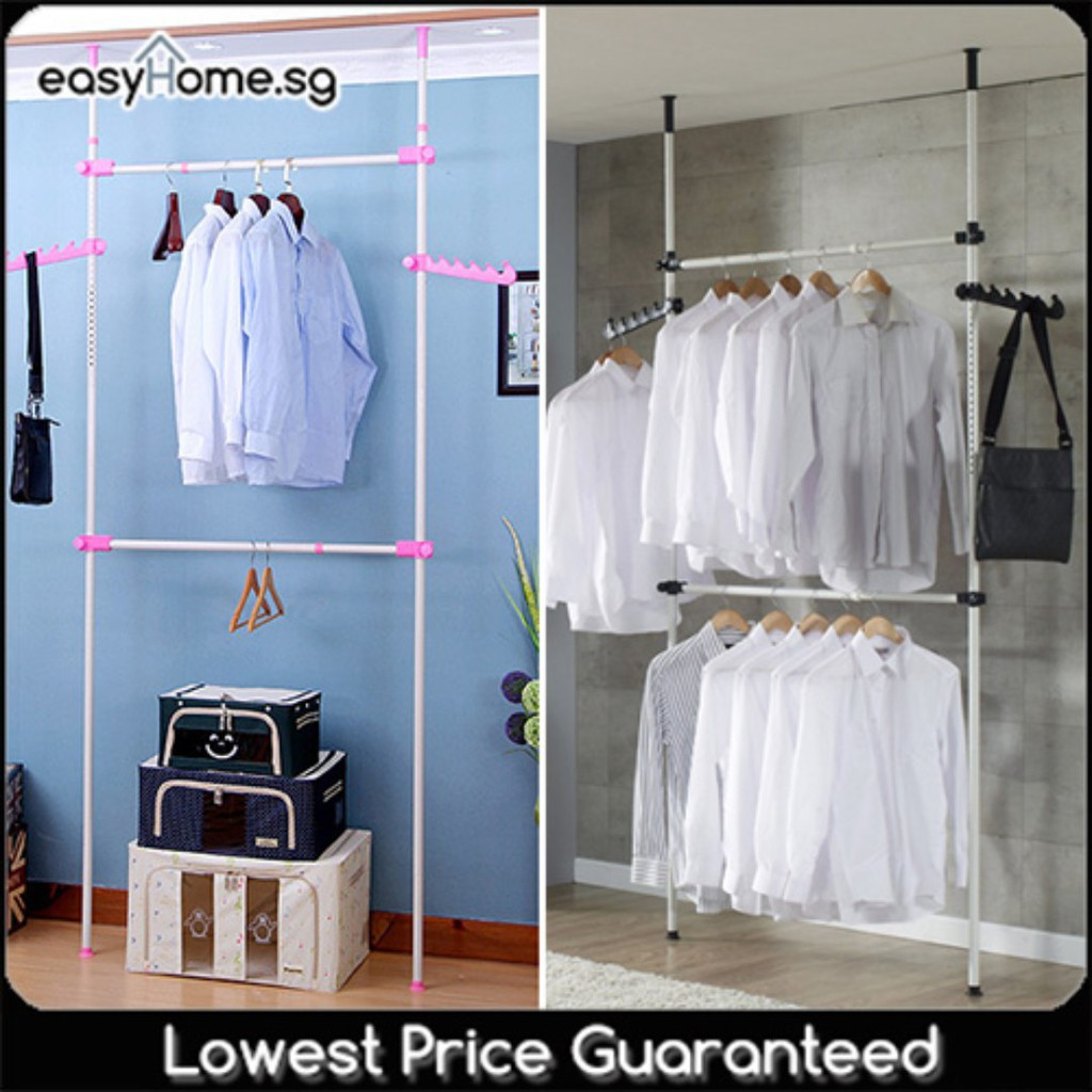 Korean Standing Pole Clothes Rack 2502 Adjustable Height Length Drying Hanger