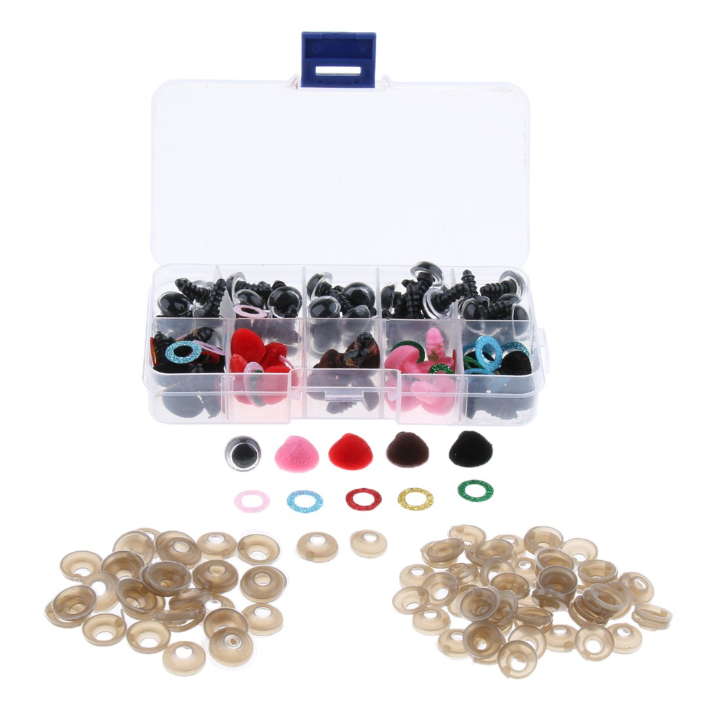 25pcs Velvet Safty Noses 50pcs 12mm Mix Color Plastic Glitter Safety Eyes