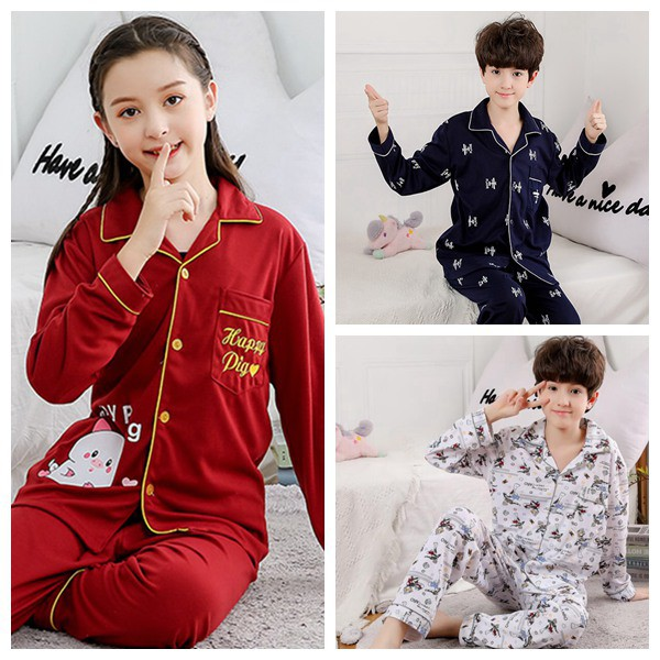 Boys Girls Pajamas Set Kids Cute Print Outfit Sleepwear Warm Casual Homewear