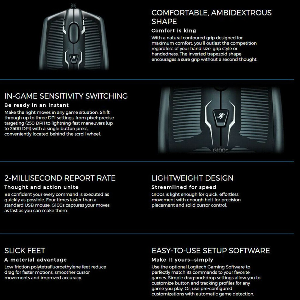 Logitech G100S Optical Wired USB PC Gaming Mouse 250 ~ 2500 DPI & Game  Computer