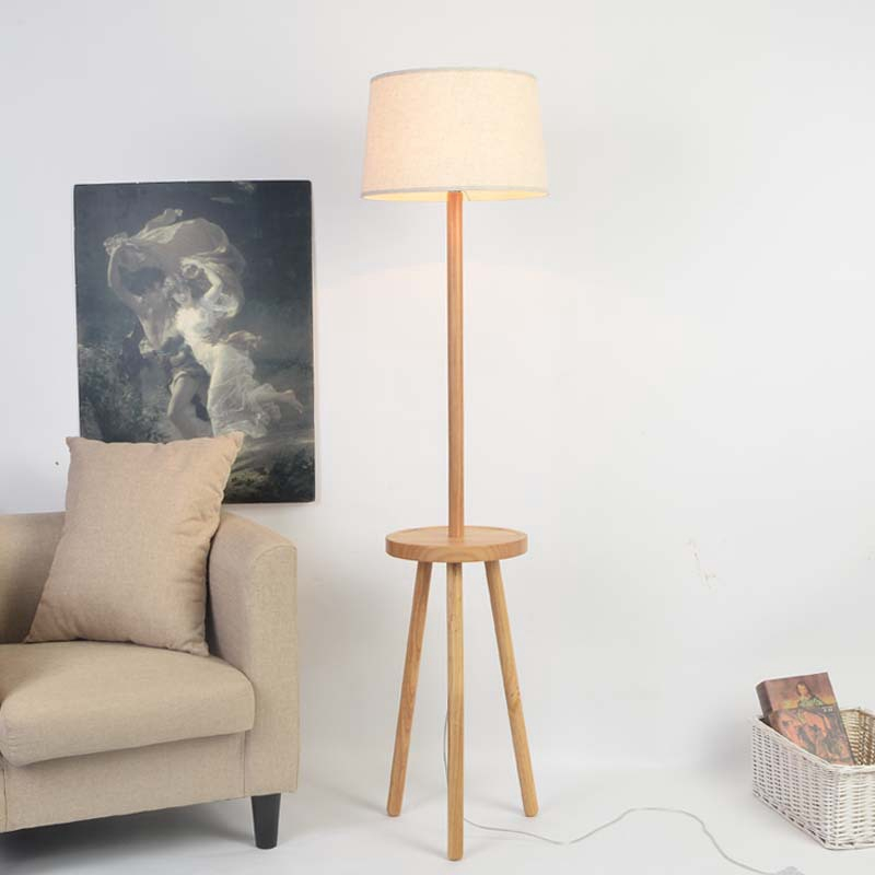 Solid Wood Three Feet Floor Lamp Nordic