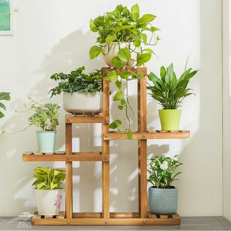 Tiered Wooden Plant Stand Bonsai, Patio Plant Stands Tiered