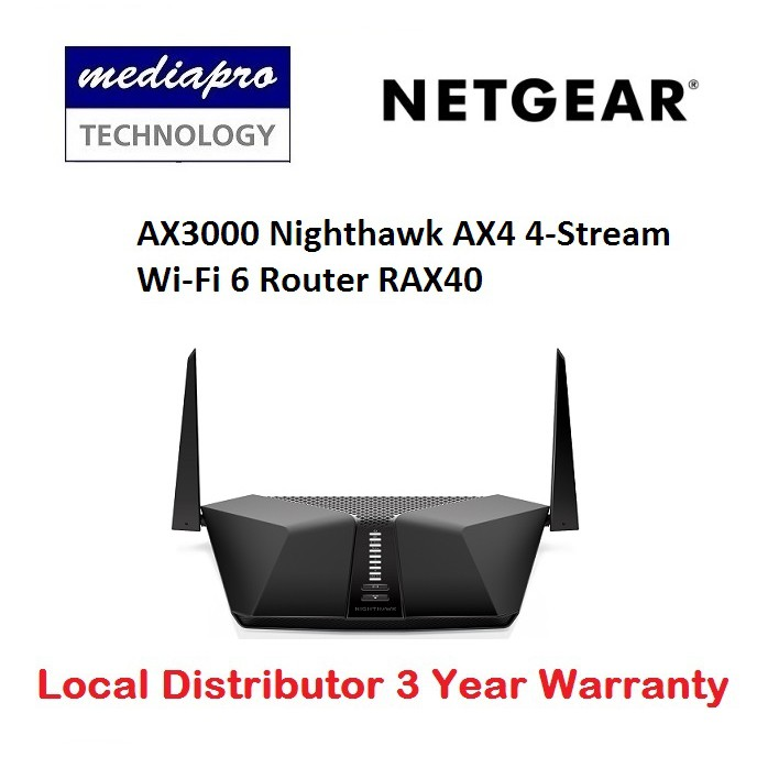 NETGEAR RAX40 AX3000 Nighthawk AX4 4-Stream Wi-Fi 6 Router - 3 years  warranty