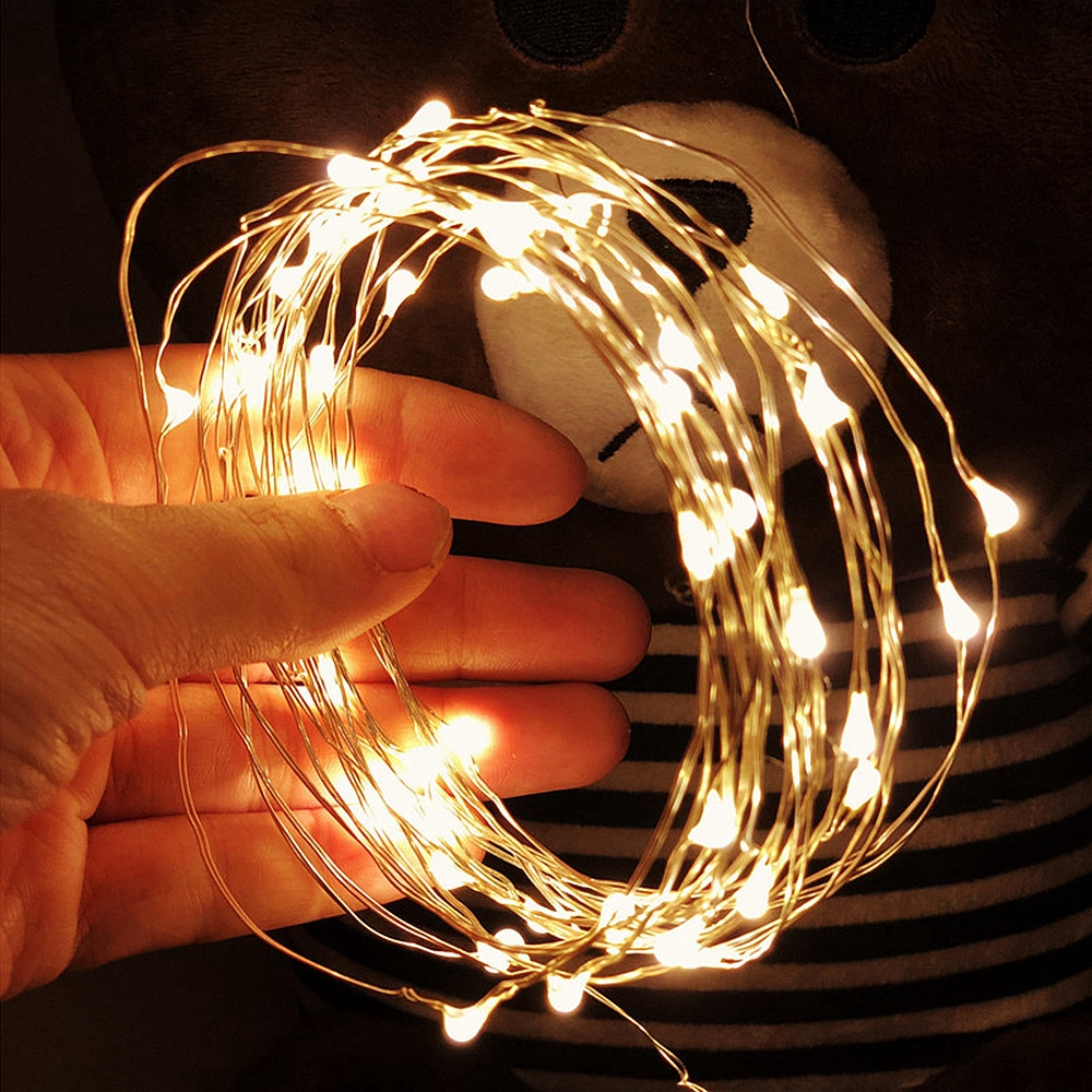 2X 10M100LED Battery Micro Rice Wire Copper Waterproof Fairy String Lights Xmas