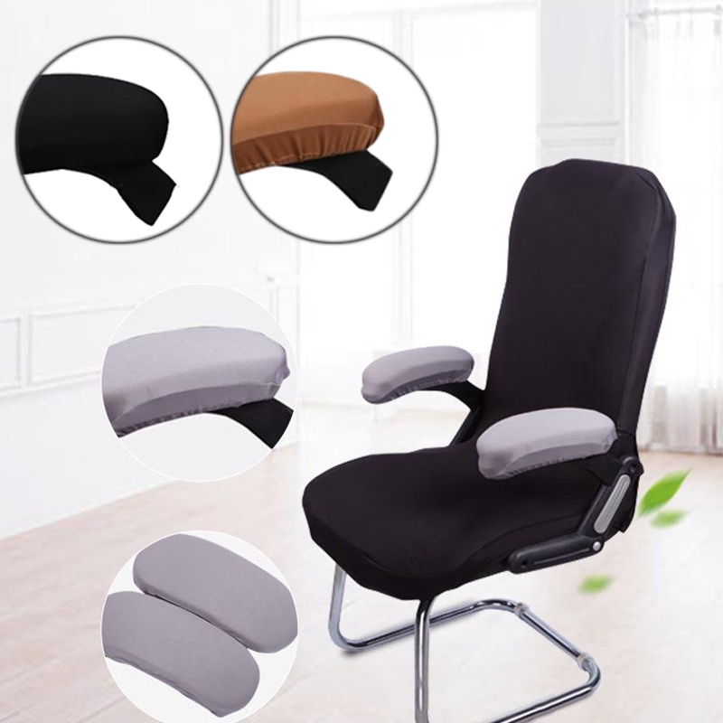 2 x Modern Chair Armrest Cover Elastic Fabric Removable Chair Arm Cover Gray