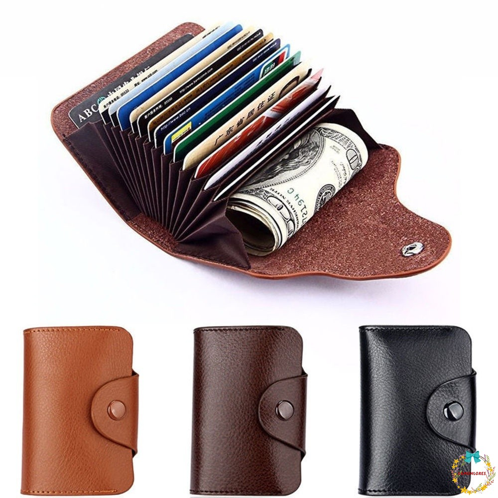 Leather Aluminum Wallet RFID Blocking Pocket Holder Credit Card Case