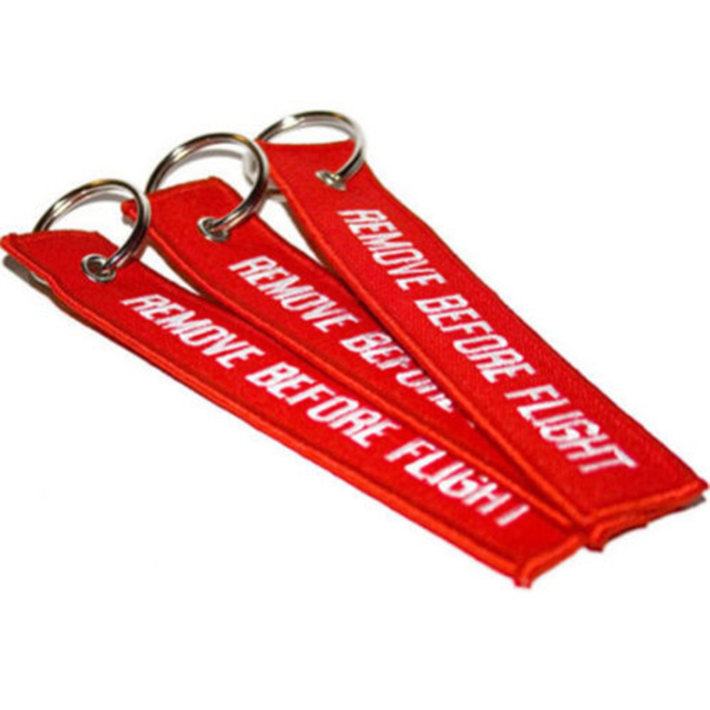 Luggage Tagx 2High Quality MINI Red Remove Before Flight Keychain