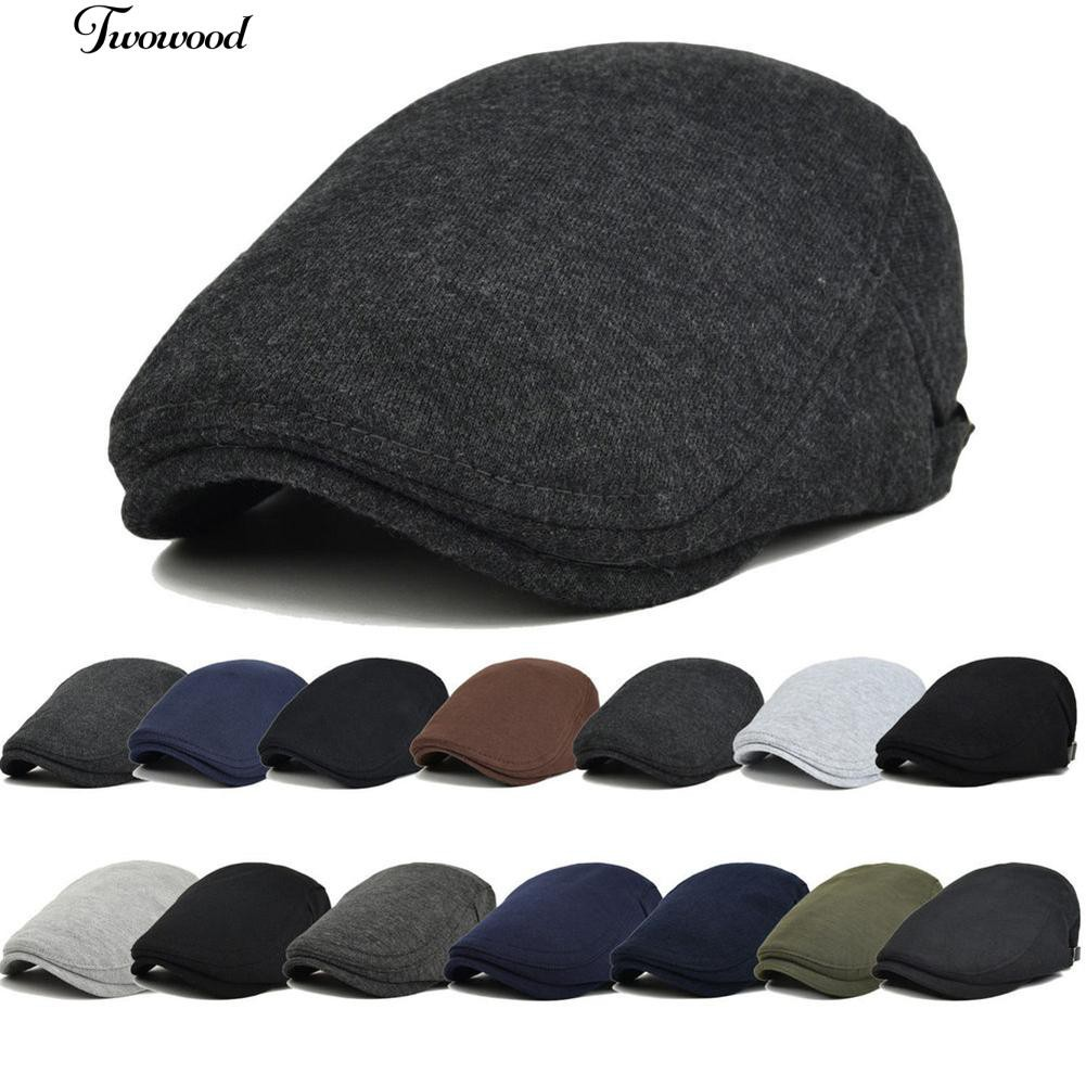 742a45a5a99 Gatsby One Driving Peaky Solid Cap Winter Baker Flat Mens Hat Newsboy Peaked