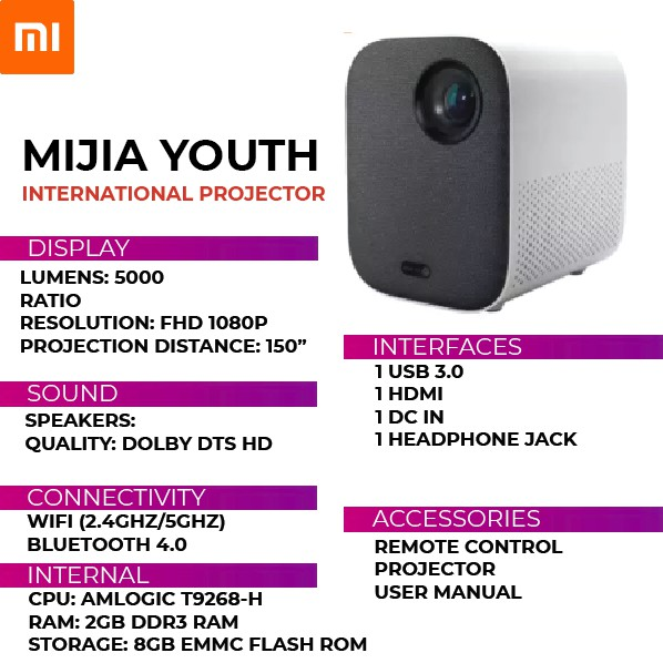 Projector MIJIA xiaomi Youth projector Google Andriod System Ready Stock   Shopee  Singapore