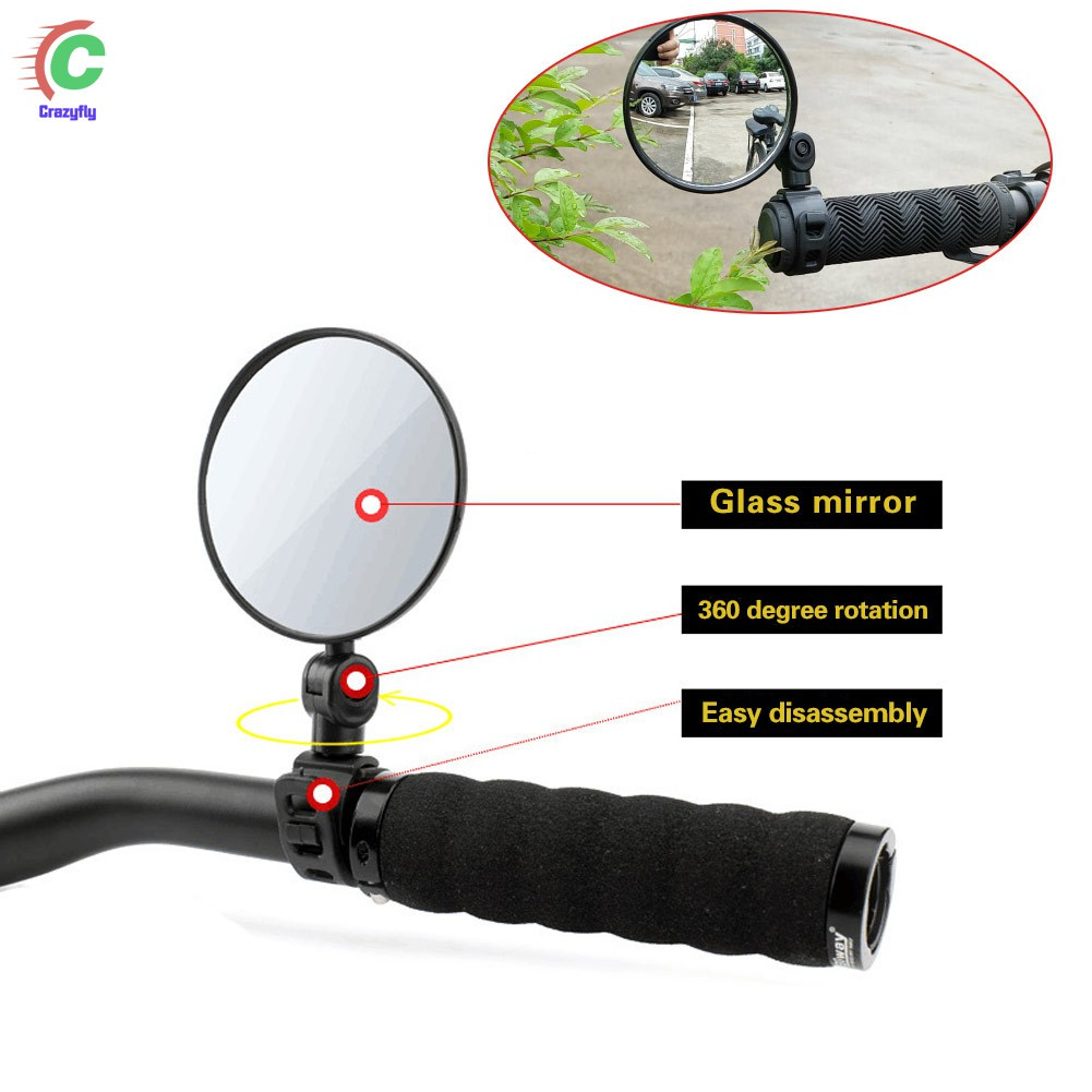 1 Pair Bike Bicycle Cycling Rear View Mirror Handlebar Flexible Safety Rearview.
