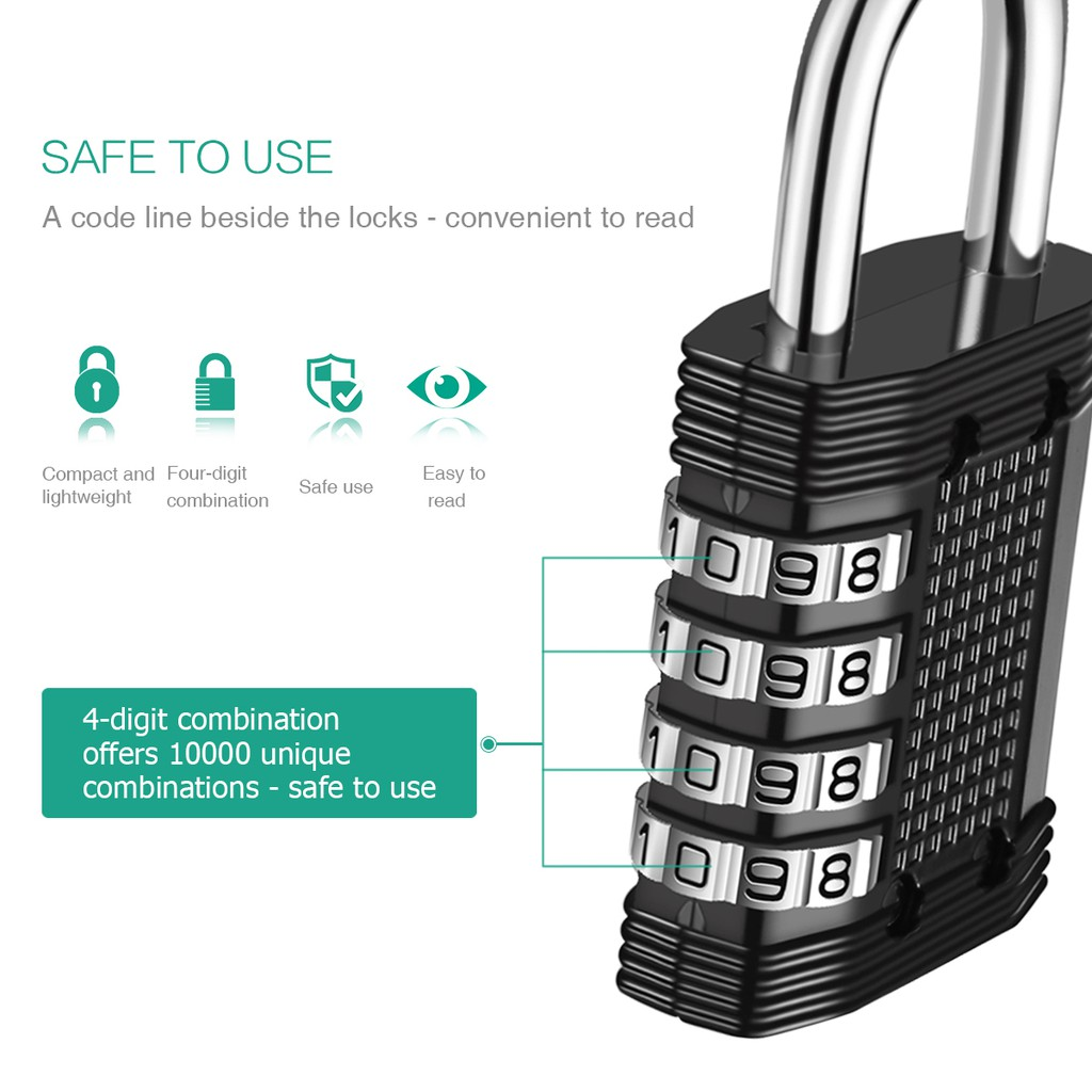 2PCS Combination Lock 4 Digit Combination Padlock