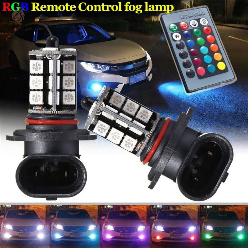 2 Pcs 9005 5050 LED 27 SMD RGB Car Headlight Fog Light Lamp Bulb with  Remote Control