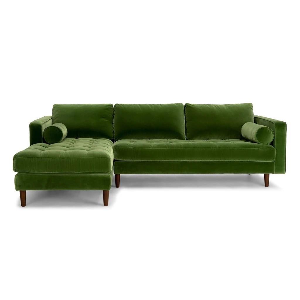 Ashla L Shape Green Velvet Fabric Sofa