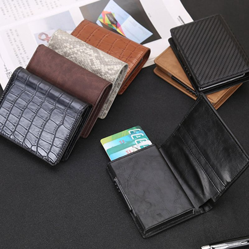 Men Leather RFID Protector Wallet Card Case ID Money Credit Holder Money Pocket
