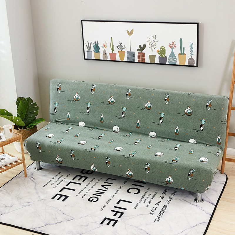 Green Cactus No Armrest Sofa Bed Cover For Living Room Shopee
