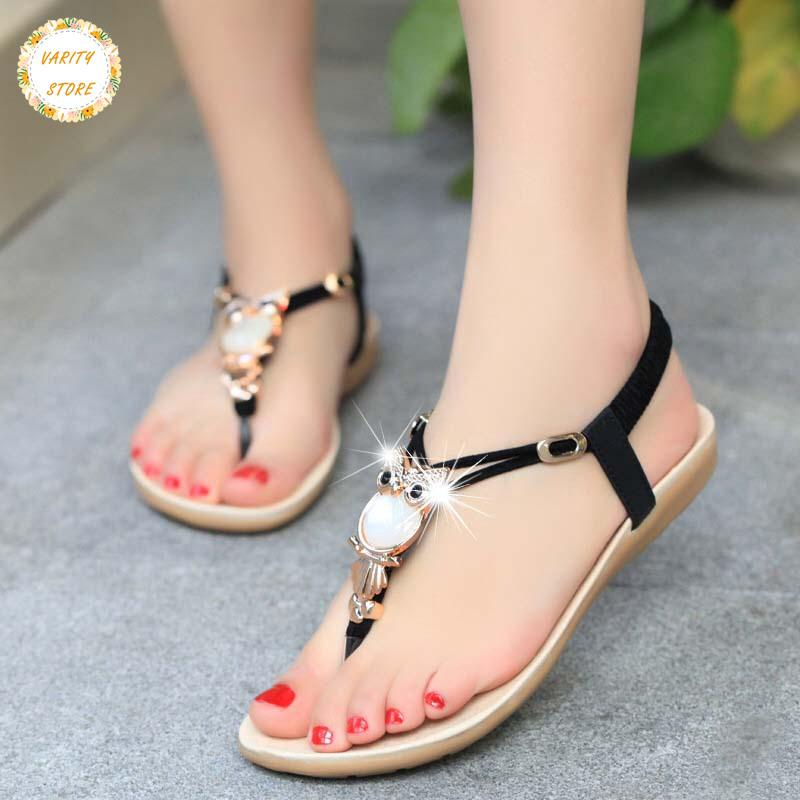 89d591747a7ebf ➸VS Fashion Summer Women Sandals Owl Bead Flip Flops Flat Comfortable Beach  Sa