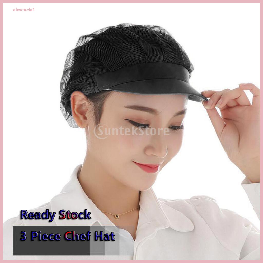 3pcs Chef Hat Adjustable Elastic Breathable Work Cap Beanie for Kitchen Cooking Service and Other Work