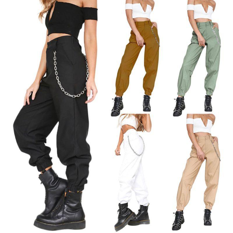 af184e05656 SOE-Women Loose Causal Trousers Cargo High Waist Harem Hip Hop Pants ...