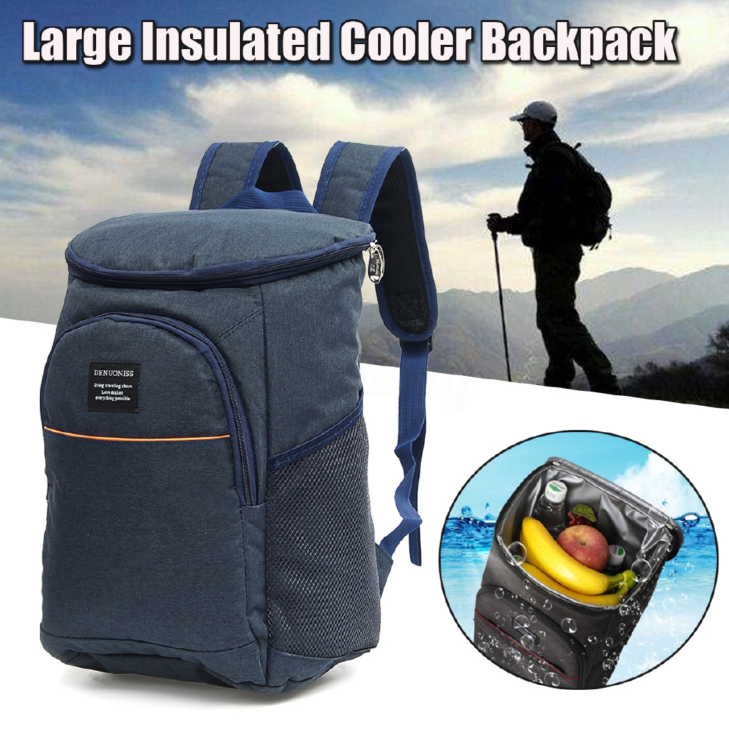 19l Insulated Cooling Backpack Picnic Camping Hiking Beach Park Ice Cooler Bag Lunch Rucksack Unisex Oxford Fabric Backpacks Campcookingsupplies