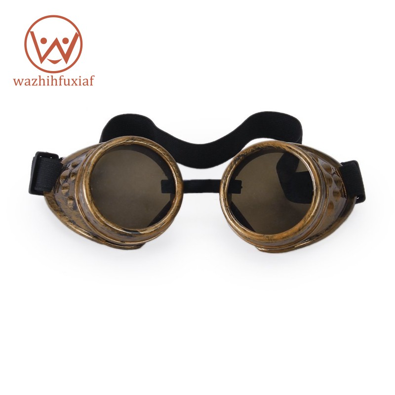 Vintage Rustic Cyber Goggles Steampunk Glasses Welding Goth Cosplay BRASS COLOUR