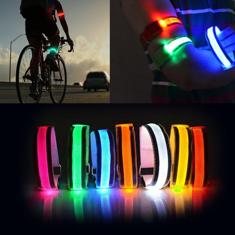 Reflective LED Light Arm Armband Strap Safety Belt Night Running Cycling Solid