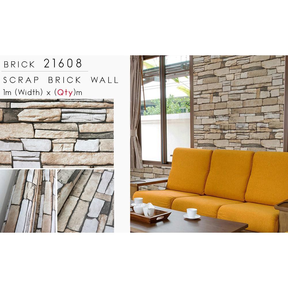 Korea Designed Wallpaper Bricks Collection Sticker Removable Adhesive