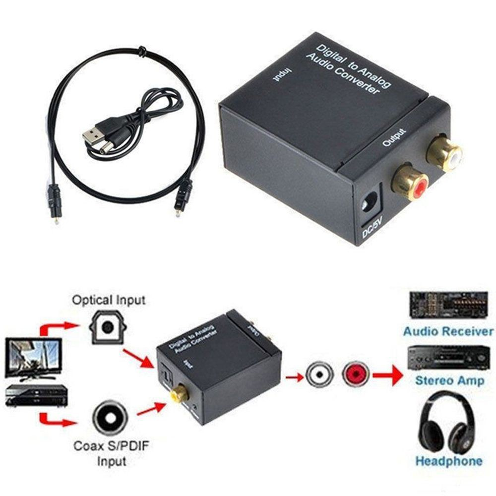 3 5mm RCA Digital To Analog Audio Adapter Optical Coaxial Toslink Converter