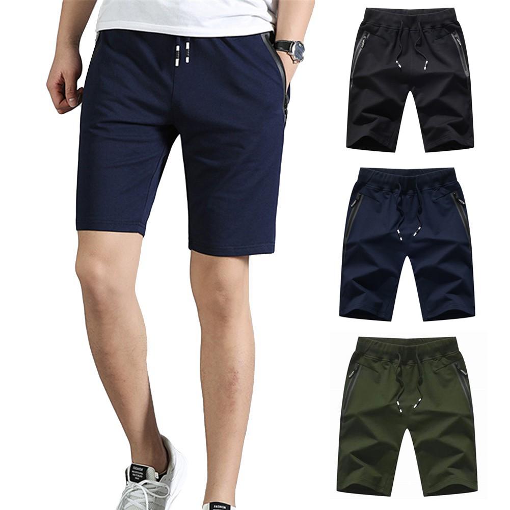 YYG Mens Casual Drawstring Plain Multi-Pockets Straight Leg Gym Workout Shorts