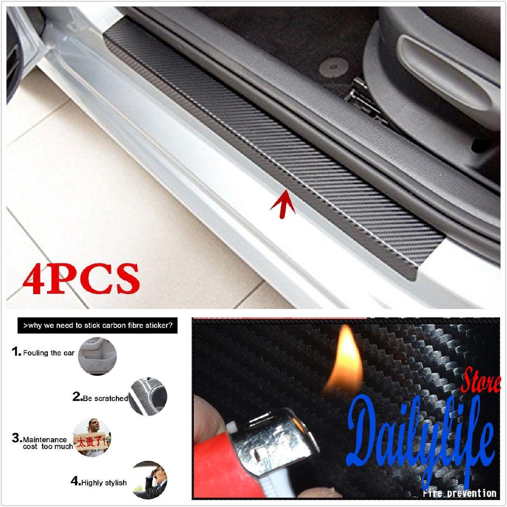 4pcs Car Door Sill Scuff Carbon Fiber Stickers Welcome Pedal Protect Accessories
