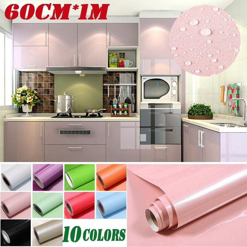 Wallpaper Accessories High Quality Solid Color Pvc Self Adhesive Dormitory Kitchen Cabinets Stickers Home Furniture Diy Breadcrumbs Ie