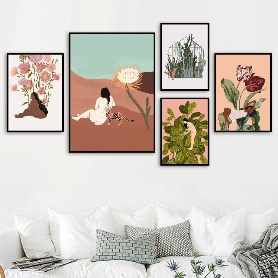 Cactus Plant Woman Body Art Illustration Nordic Posters Prints Wall Art Canvas Painting Wall Pictures For Living Room Decor Unframed Shopee Singapore