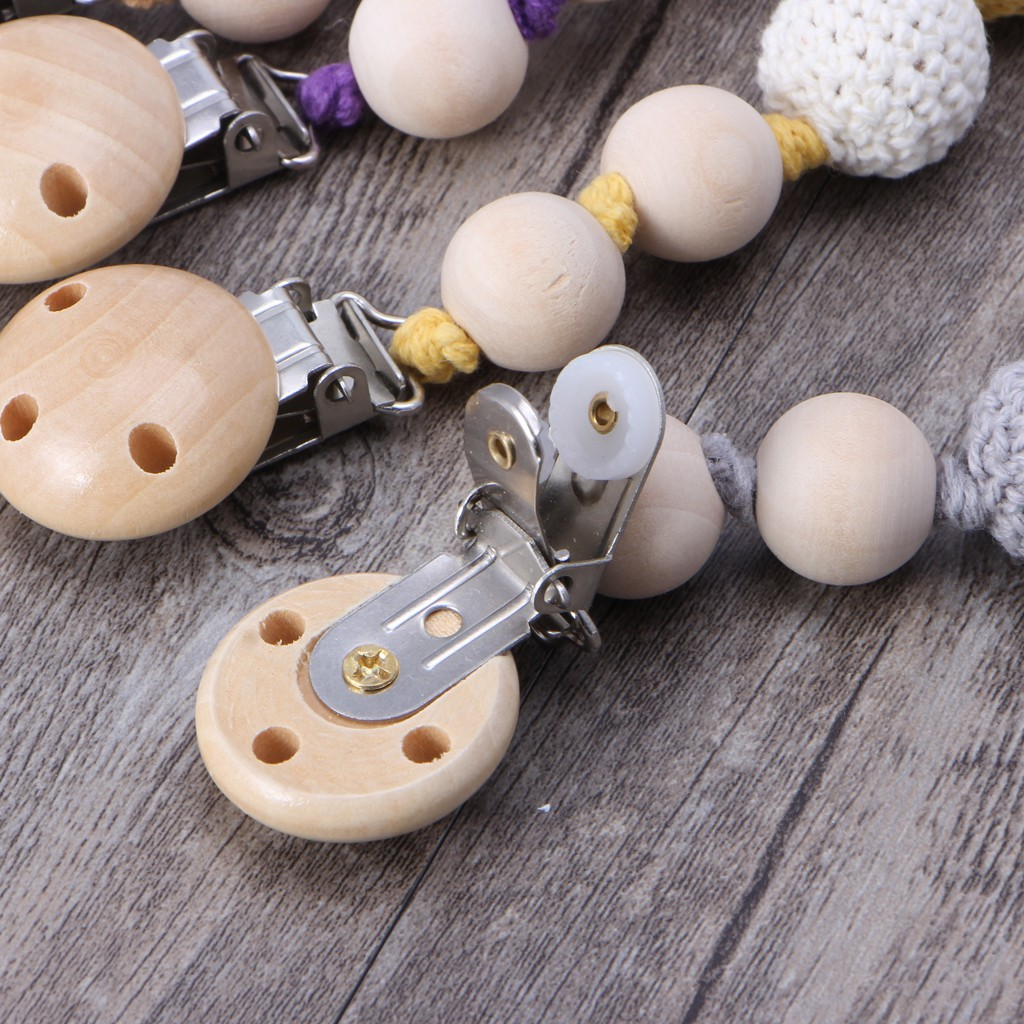 10 Pcs Baby Pacifier /& Soother Clips Natural Wooden 3 Holes Teat Clips