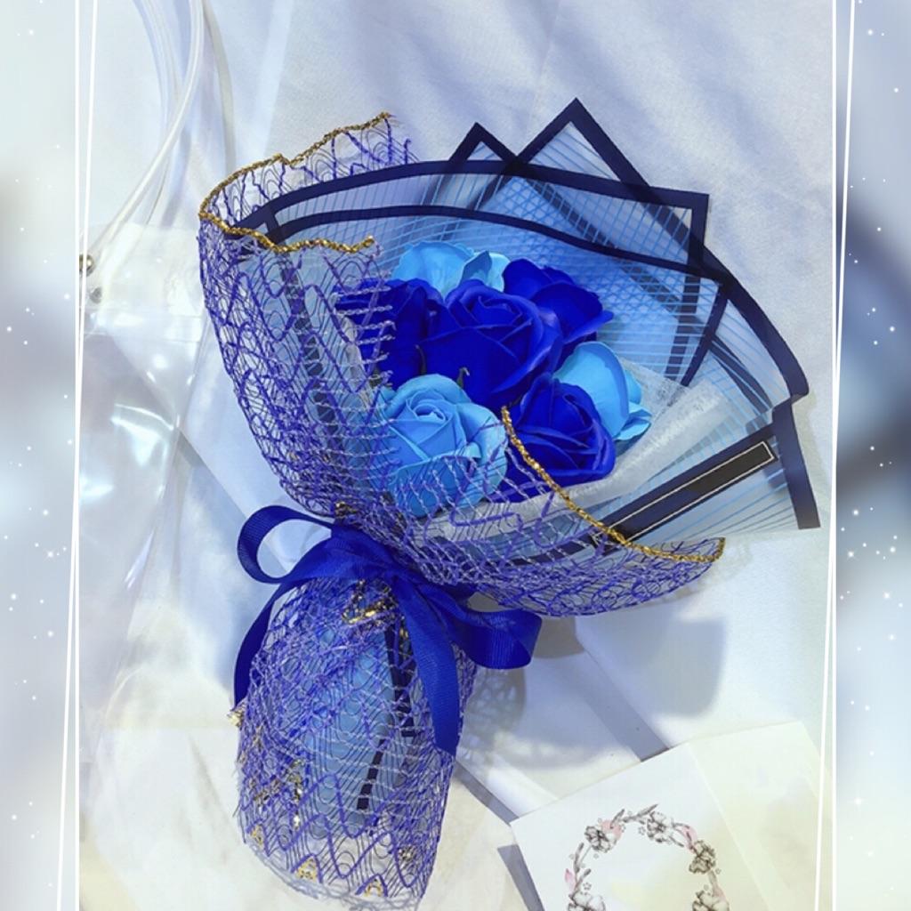 Blue Roses Fragrance Soap Flower Bouquet Shopee Singapore
