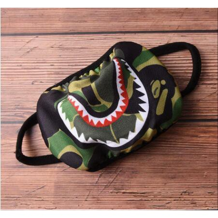 A Bathing Ape Bape Cycle Shark Camouflage Mouth Face Mask Anti-Dust Black Unisex